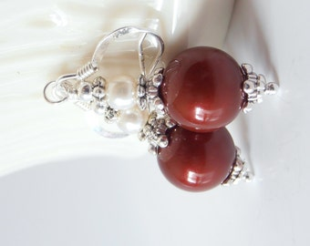 Bridesmaid Earrings, Burgundy Dangles, Swarovski Pearl Wedding Jewelry, Beaded Earrings, Dark Red Bridesmaid Jewelry Set, Burgundy and Ivory
