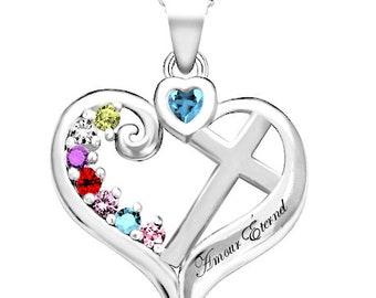 Family personalized cross heart pendant