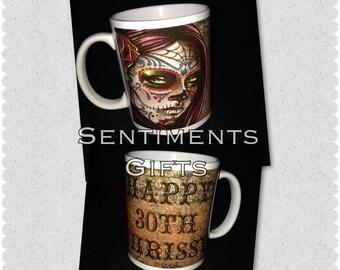 Personalised Candy/Sugar Skull Mug - New - Handmade