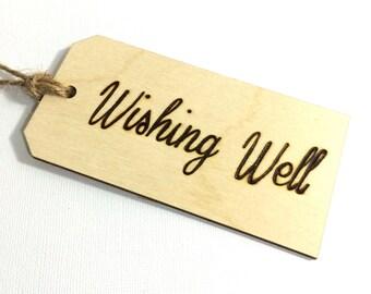 Wishing well sign rustic wedding decor guest book alternative