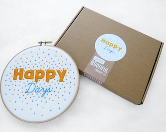 Beginner Embroidery Kit, Happy Days Sewing Kit, Modern Hoop Art Tutorial, Craft Kit For Adult, Gift For Crafter, Cheerful Hand Embroidery