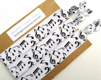 Music hair ties, foldover elastic ponytail holders, music note hairties, knotted foe, treble clef accessory, piano gift, music teacher gift