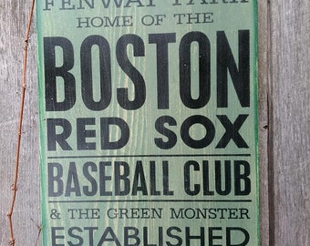 BIG Red Sox Fenway Park Green Monster Painted Wood Sign BIG Boston Ticket Play Bill