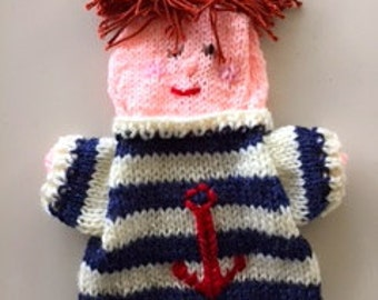 hand puppet sailor, knitted seaman