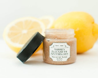 Lemon Lip Scrub - dry lips -  gift for her - all natural & vegan sugar lip polish -  2 in 1 scrub and balm - exfoliate hydrate