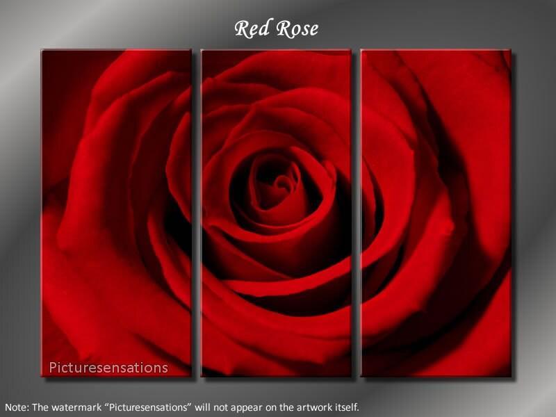 Enmarcado enorme Panel 3 flor roja Arte Floral lienzo Giclee