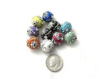 10 Handmade Indonesian Kashmiri Beads 14mm (B310c)