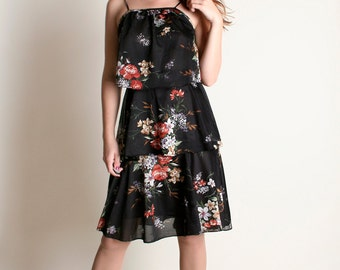 Vintage 1970s Sheer Floral Dress - Dark Floral Layered Black Dress - Medium Small