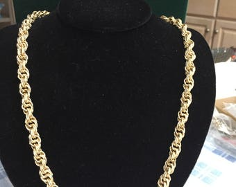 "Vintage Trifari Signed Multi Strand Braided Chain Necklace Gold Tone 24"" Long"