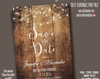 Save the Date, Instant Download, Printable save the date, Rustic wedding, Wedding templates, Self Editable PDF A200