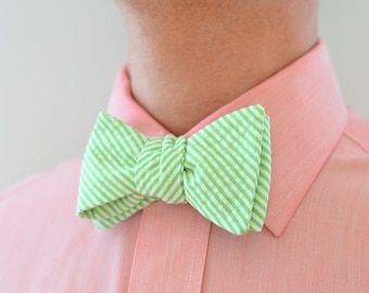 Men's Bow Tie in Lime Green Seersucker- mens green freestyle wedding groomsmen bowtie neck self tie striped