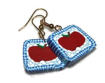 SALE 33% off Teacher Gift Apple Earrings for Teacher Vegetarian Polymer Clay with Gold Hook Earrings