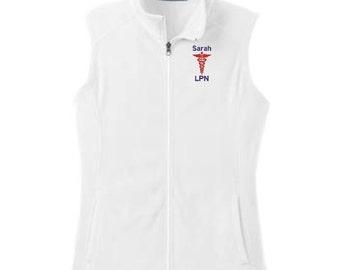 Nurse Caduceus MicroFleece Vest. Nurse MicroFleece Zip Up Vest. LPN RN Ladies Fleece Vest. Medical School Doctor Nurse Gift. L226 - N5