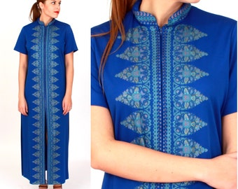 Vintage 1970s Royal Blue Maxi Cover-up Dress with High Slits and Indian Print | Small/Medium