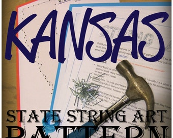 """KANSAS - DIY State String Art Pattern - 10"""" x 5.5"""" - Hearts & Stars included"""