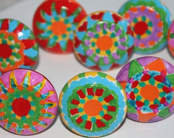 COLOR SPLASH 8 knobs hand painted whimsy