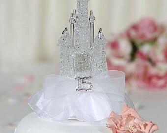 Rhinestone Quinceanera Cinderella Castle Cake Toppers - 100037