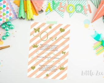 Pink gold first birthday Invitation. Princess Birthday Invitation. Birthday Invitation. 1st birthday invitation. Butterfly Invite