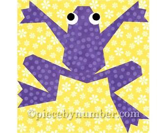 Kiriki the Frog quilt block, paper pieced quilt patterns, instant download animal patterns, frog quilt patterns, animal quilt patterns, PDF