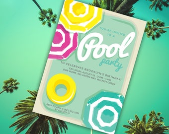 Summer Pool Party Invitation Template   Editable PDF   Pink, Yellow, and Aqua