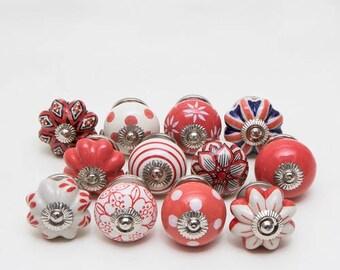 Set of 12 Reds Ceramic Knobs