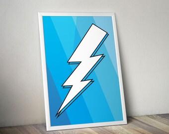 Lightning Bolt Print - Blue - Wall Art
