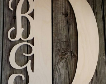 Wooden Monogram - Unfinished Three Letter Monogram Door Hanger - Wedding Gift - Anniversary Gift - Housewarming Gift - Personalized Gift