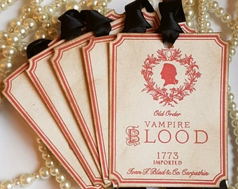 Vampire Blood Tags, Poison Tags, Potion Tags, Halloween Wedding, Halloween Drinks, Vampire Tags