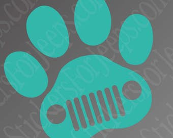 Jeep Dog Jeep Wave Paw Print -  vinyl decal / sticker over 40 colors