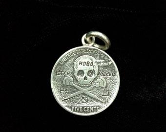 Leech's Hobo Nickels- Sterling Silver Buffalo / Indian Head Hobo Nickel With Skull Back