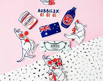Aussie Sticker Pack - Set of 7 - Vinyl Stickers - Hand Drawn Sticker - Handmade Sticker - Australia Sticker - Aussie  Oi Oi Oi