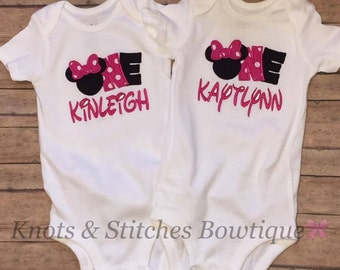 Embroidered Minnie Mouse ONE Birthday bodysuit/ shirt