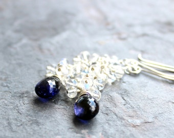 Moonstone Iolite Earrings Long Cascade Cluster Sterling Silver Blue White Gemstone Earrings
