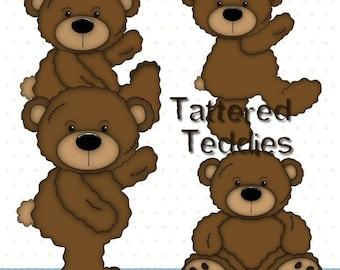Tattered Teddies - Digital Clipart