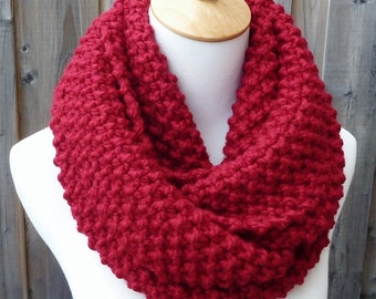 Cranberry Wool Infinity Scarf - Red Wool Infinity Scarf - Lambswool Scarf - Bulky Knit Scarf - Circle Scarf - Ready to Ship