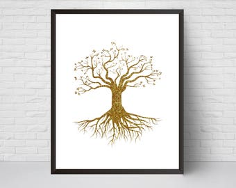 Gold Tree with Roots Wall Art Print, Glitter  Nursery art, House Decor, Printable Digital download, Modern Printable art poster, Large print