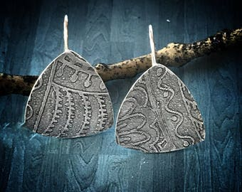 Etched Sterling Silver Earrings; Artisan Silver