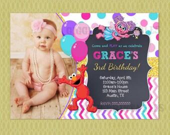 Elmo and Abby Cadabby Sesame Street Birthday Invitation , Elmo Birthday Invitations, DIY printable