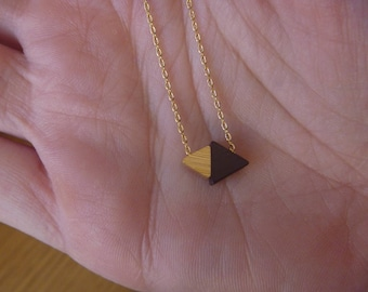 Black and gold triangle necklace