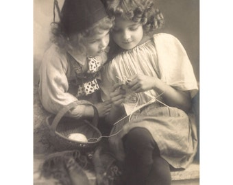 Photo - Vintage photo Girls Knitting art print in choice of sizes