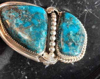 Humongous Sterling and Morenci Turquoise navajo Jon Chavez Ring sz 8
