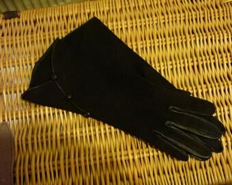 Vintage black Gloves. Nylon and leather Gloves. 3/4 length Gloves. Morley gloves. Wedding gloves. Small lady. C.