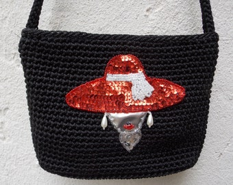 Black Knit Evening Purse with Sparkly Sequin Red Hat Applique