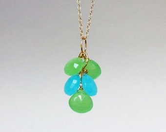 Chalcedony Cluster Necklace - 14K Goldfilled