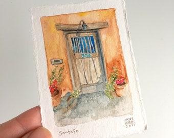 Santa Fe Canyon Road Gate Tiny Original Watercolor Painting Free Shipping