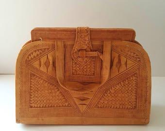 Forties bag, leather bag, Vintage, soft leather, tan handbag, embossed pattern, 1940's bag, brown bag,