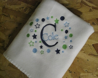 Personalized Baby Blanket boy or girl newborn infant gift shower Navy/Green combo