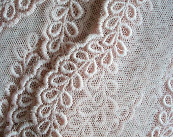 Antique pastel pink embroidered net lace