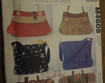 McCalls M4608, purses, bags, handbags, accessories, UNCUT sewing pattern, craft supplies