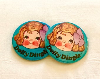 Vintage 1970s Dolly Dingle Pin BackButtons, Grace Drayton,  Campbell Soup Kids, Doll Collectibles, C Clasp Pin, Silver Metal, Litho Color